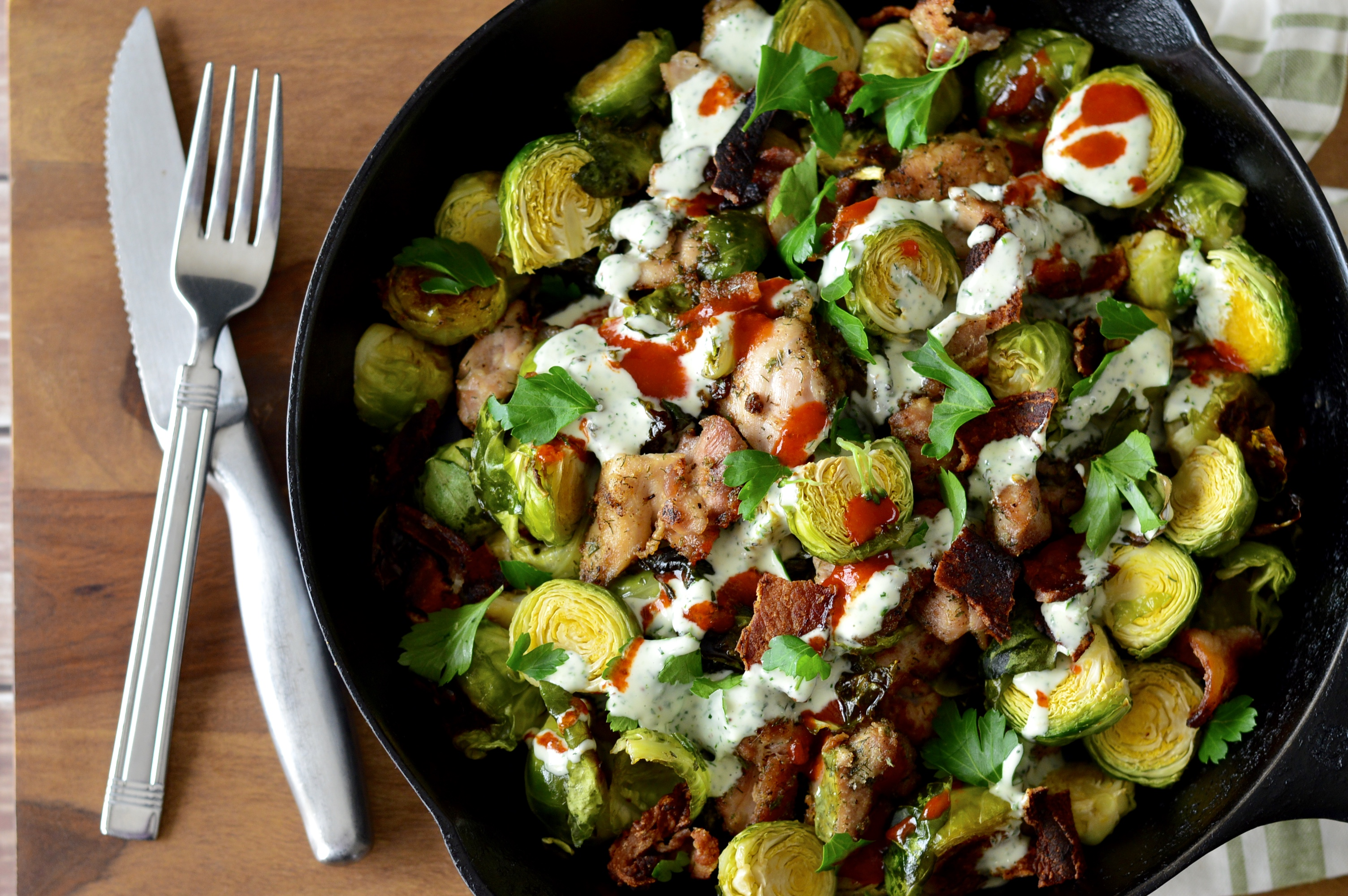 Buffalo chicken bacon ranch skillet with roasted for Chicken and brussel sprouts skillet