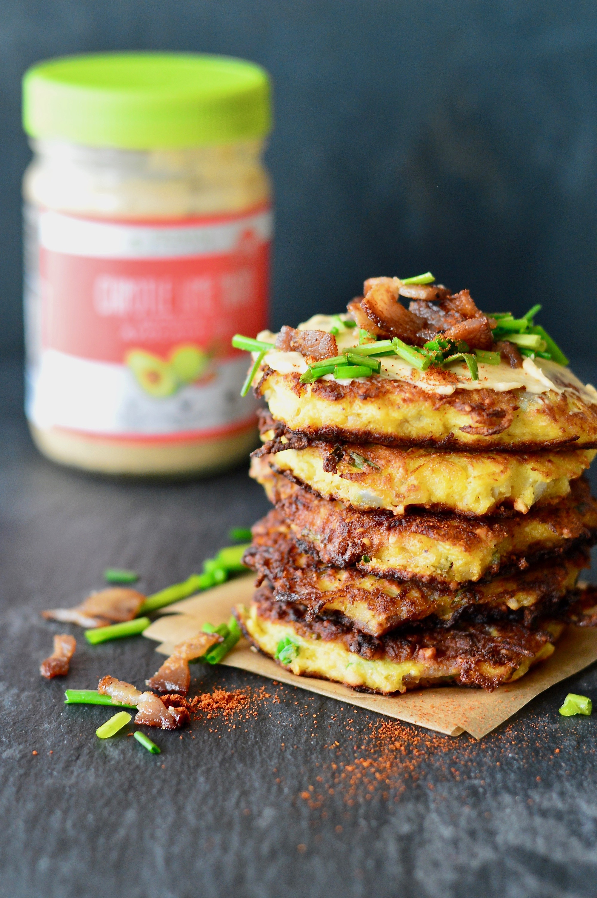 Spaghetti Squash Fritters with Bacon & Chipotle-Lime Mayo ~ Real Food ...